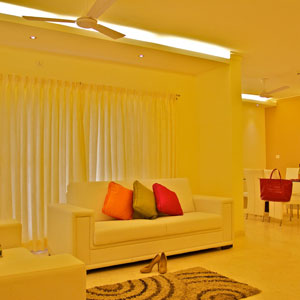 3 BHK Luxury Apartment Living Room